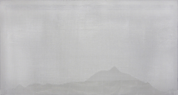 cheilon 2013, acrylic/ steel mesh, 108 x 201 cm