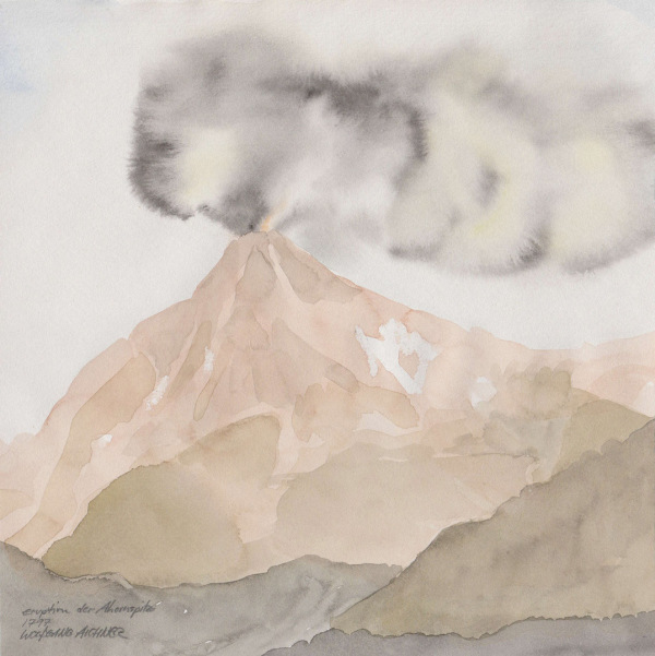 eruption der ahornspitz 1797, watercolour/ paper, 20 x 20 cm