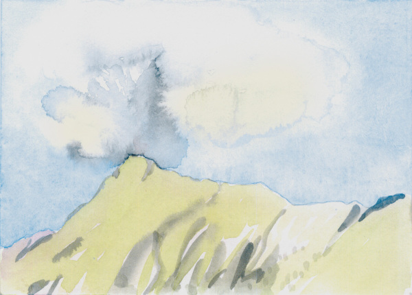 eruption der gamskarspitz anno 1798, watercolour/ paper, 11 x 15 cm