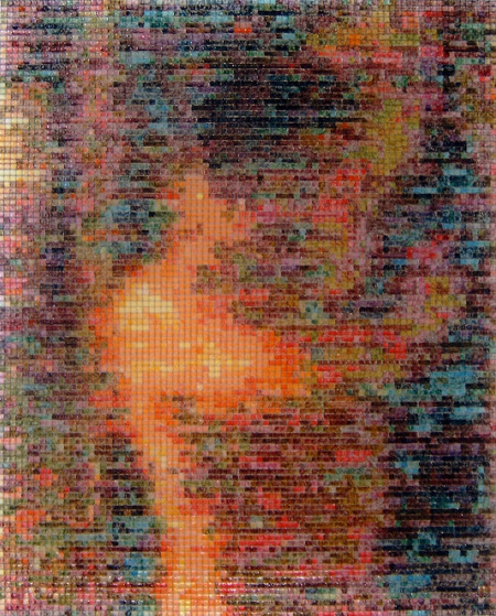 02:43 2005, acrylic/ steel mesh, 88 x 70 cm