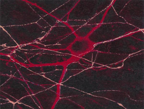 nervenstammzelle skizze 2002, oil/ paper, 22 x 27 cm