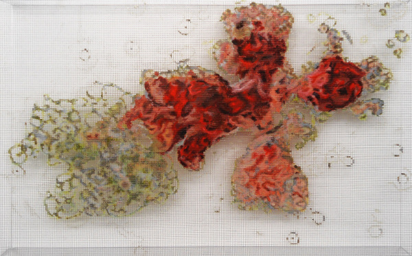 blutstammzelle 2002, acrylic/ steel mesh, 92 x 142 cm