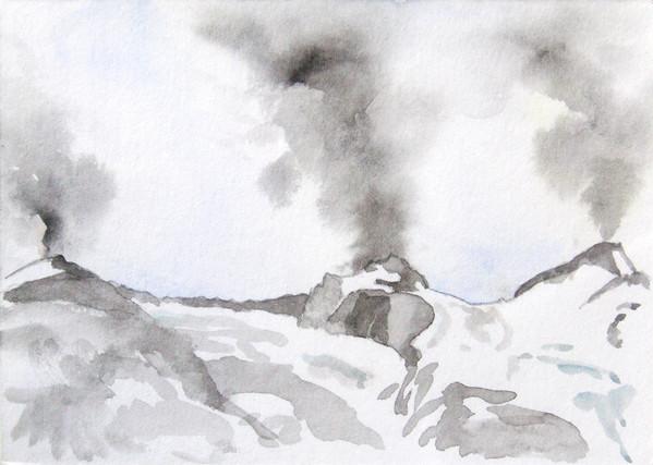 eruption von riffler, gefrorne wand und olperer anno 1712, watercolour/ paper, 11 x 15 cm