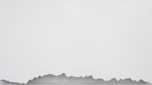 karwendel 2012, acrylic/ steel mesh, 68 x 120 cm