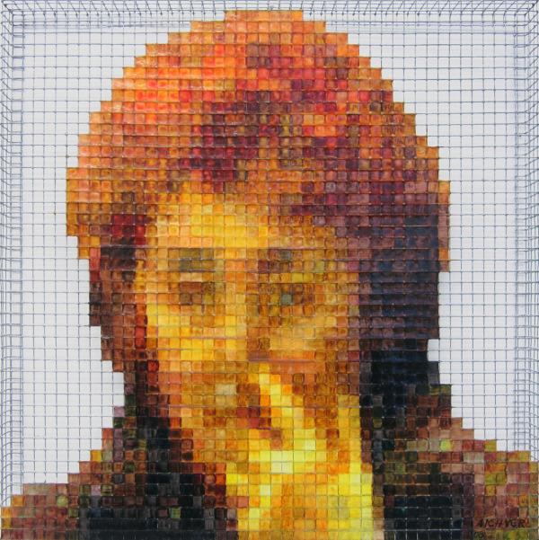 nasebohren 2008, acrylic/ steel mesh, 31 x 31 cm