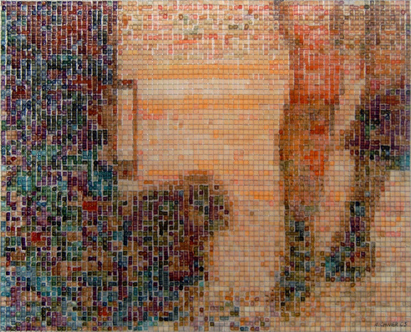 00:31 2005, acrylic/ steel mesh, 42 x 52 cm