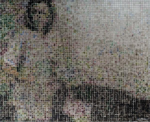 17:34 2005, acrylic/ steel mesh, 42 x 52 cm