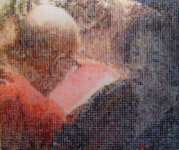 17:27 2007, acrylic/ steel mesh, 54 x 64 cm