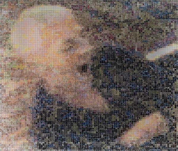 04:57 2007, acrylic/ steel mesh, 54 x 64 cm