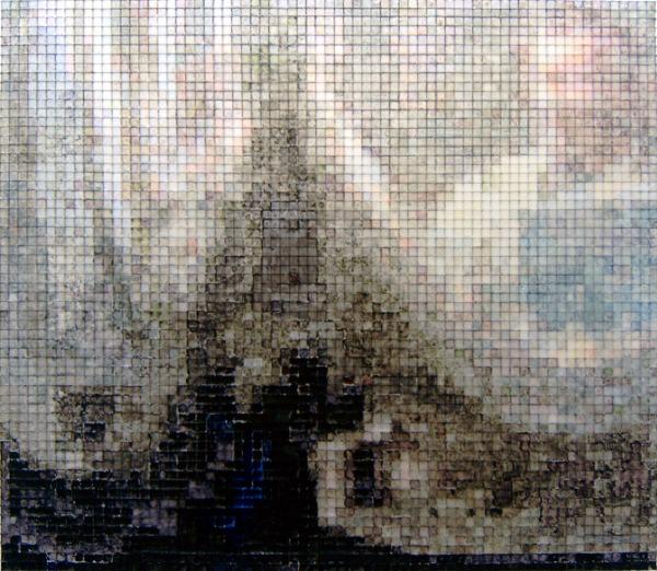 29:15 2006, acrylic/ steel mesh, 39 x 45 cm