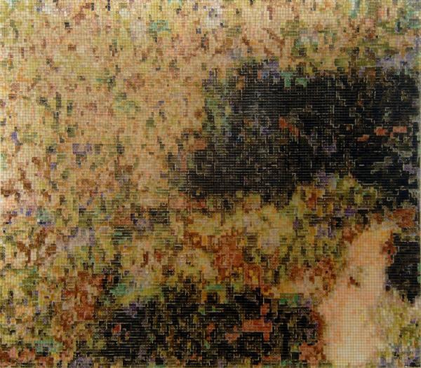 07:28 2005, acrylic/ steel mesh, 101 x 133 cm