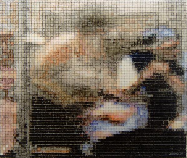 12:55 2006, acrylic/ steel mesh, 39 x 45 cm