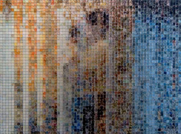 bemuttern 2006, acrylic/ steel mesh, 30 x 40 cm